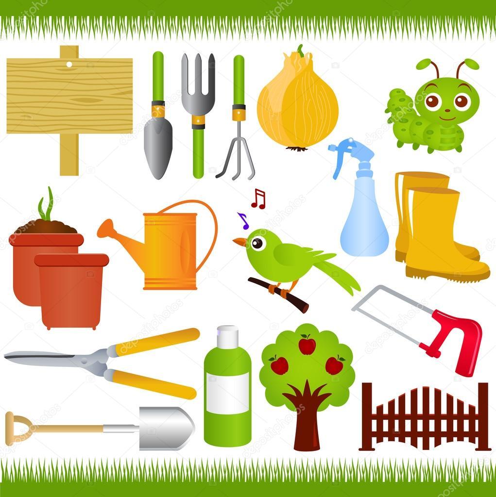 Vector iconos herramientas de jardiner a y jard n - Imagenes de jardineria ...