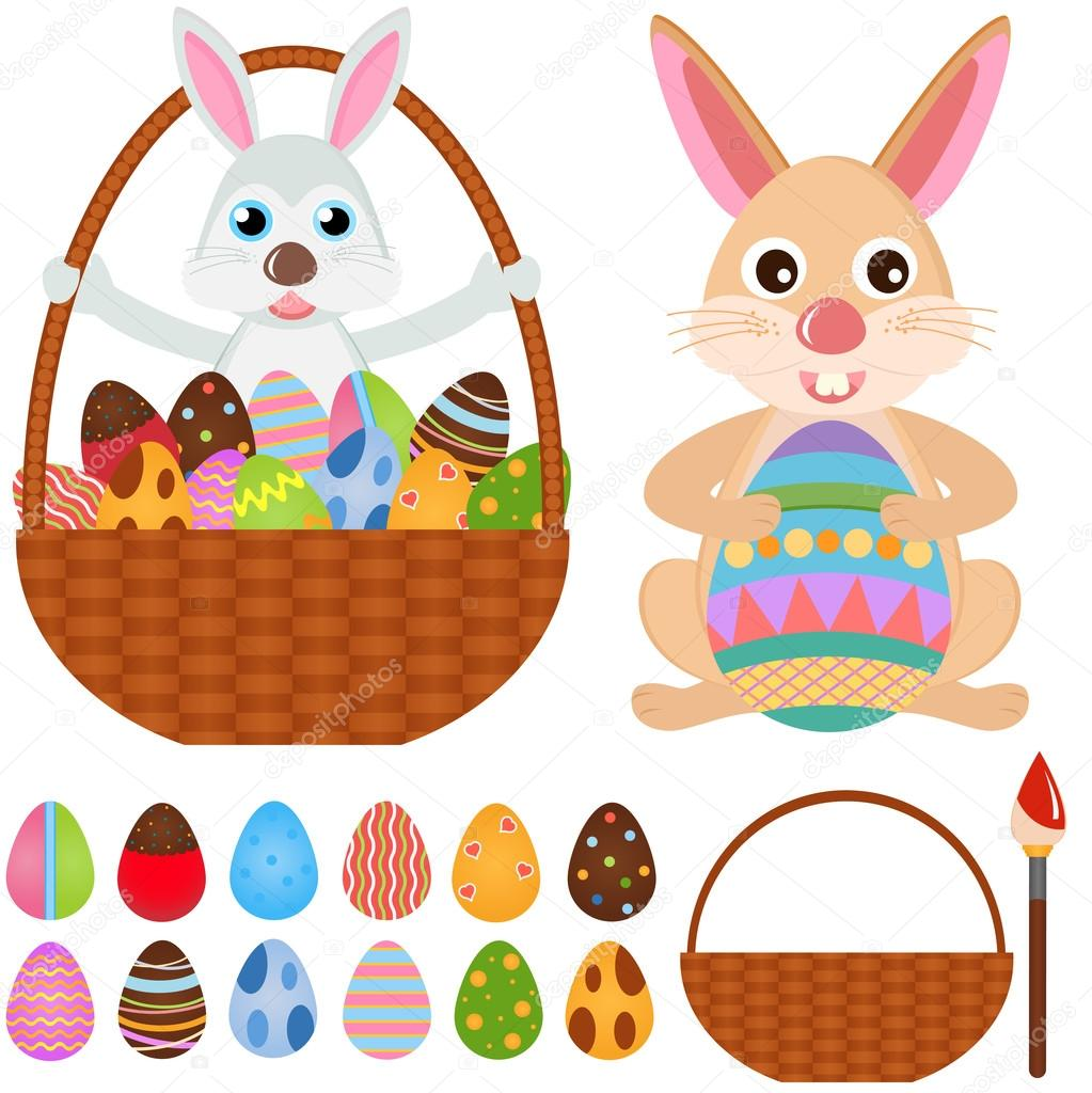 Rabbit bunny with easter eggs stock vector sasimoto for Call the easter bunny phone number