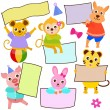 Animal Theme of cute vector Icons ,  tag : Blank frame in pastel  — Stock Vector