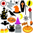 Colorful Halloween Festival Theme, Icons , Design Elements — Stock Vector