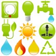 Vector Icons: Energy Saving, water, electricity, solar power — Stock Vector #28999539