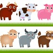 A colorful Theme of cute vector Farm Animals, on white  — Stock Vector