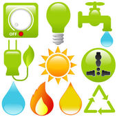 Vector Icons: Energy Saving, water, electricity, solar power — Stock Vector