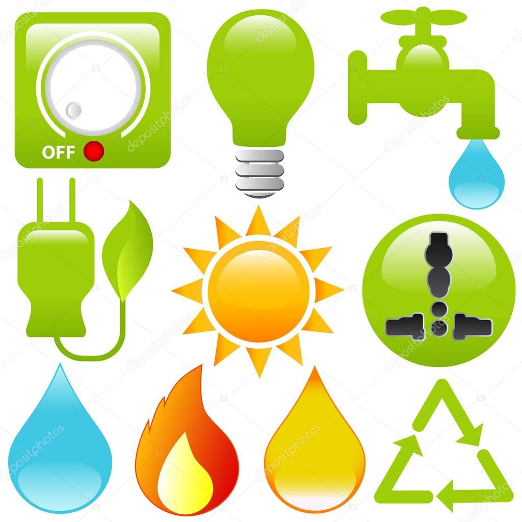 Vector Icons: Energy Saving, water, electricity, solar power — Stock ...