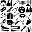 Stock Vector: Silhouette - Beauty tools, SpIcons, Cosmetics
