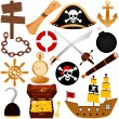 Colorful vector Theme of Pirate, equipments, sailing. — Stock Vector #29004737