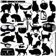 Vector Silhouettes of Cats, Kittens and Accessories — Stock Vector