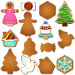 Gingerbread (Christmas festival biscuit - cookie) — 图库矢量图片