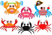 Animal Vector Icons : Cute colorful Crabs — Stock Vector