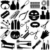Silhouette - Beauty tools, Spa Icons, Cosmetics — Stock Vector