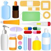 Cute vector icons: Medicines, Pills, Medical Equipments — Stock Vector
