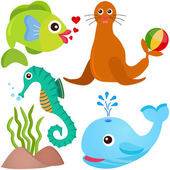 A colorful set of cute Animal Vector Icons: Fish, Sea life — Stock Vector