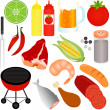 barbecue, barbecue (bbq) thema geïsoleerd op wit — Stockvector  #29013709
