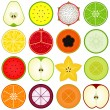 Fresh fruit cut in half isolated on white — Stock Vector #29015177