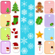 Snowflake and Christmas Paper Tag, Sticker — Stock Vector
