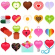 Valentine - colorful set of heart icons — Stock Vector