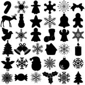 Silhouette of Seamless Snowflake Christmas Festival symbol — Stock Vector