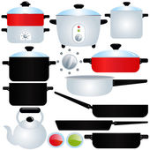 Vector Icons: coated Pot and Pan, Cooking Utensils — Stock Vector