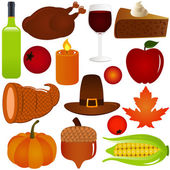 Thanksgiving, Fall season Vector Icons, Isolated on white — Stock Vector