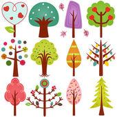 Sweet Retro Trees, Seamless background — Stock Vector