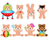 Cute Vector Bears in different positions — Stock Vector