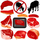 Vector Icons : Beef, Pork, Sausage isolated on white — Stock Vector