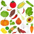 Colorful Cute vector Icons :  Fruits, vegetable, food — Stock Vector