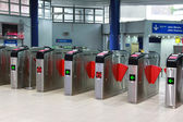 Ticket gate at Light Rapid Transit interchange station — Stock Photo