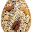 A spoon of Fruit, Nut, and Fiber Muesli  — Stock Photo
