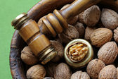 Walnuts in a wooden bowl — Stock Photo