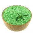 Стоковое фото: SeSalt Bath with Algae extract in wooden bowl