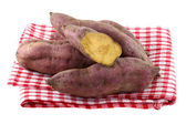 Raw Sweet Potato with dirt on skin — Stock Photo