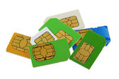 Old and used Subscriber Identity Module (SIM) cards — Stock Photo