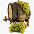 White wine, grapes and old barrel — Stock Photo
