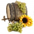 White wine, grapes and old barrel — Stock Photo #12408008