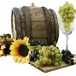 White wine, grapes and old barrel — Stock Photo #13148587