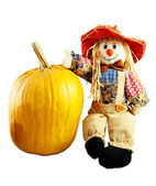Scarecrow and pumpkin — Stock Photo