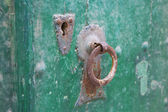 The old lock in the ancient doorway — Stock Photo