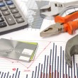 Stock Photo: Housebuilding and renovation graphics and hammer and credit card