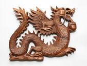 Chinese wooden dragon — Stock Photo