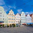 ������, ������: Gabled houses at Moritz Square Augsburg Bavaria Germany