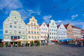 Gabled houses at Moritz Square, Augsburg, Bavaria, Germany — Stock Photo