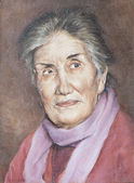 Oil on canvas of a sympathetic grandmother — Stock Photo