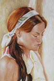 Oil painting on canvas of a young woman — Stock Photo