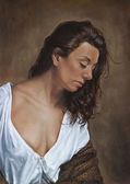 Painting of a gypsy girl in white blouse and shawl — Stockfoto