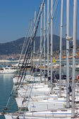 Yachts and motor boats in the harbor — Foto de Stock