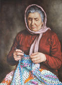 Painting of an old woman who works the wool — Stock Photo