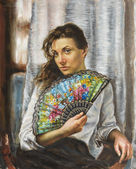 Painting of a young woman — Foto de Stock