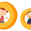 Kids in the letters series — Stock Vector #12350810