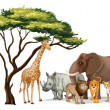 African animals — Stock Vector